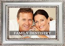 smiling couple with the text 'cosmetic dentistry' superimposed