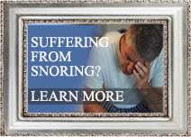 Man in distress with the text 'suffering from snoring' superimposed